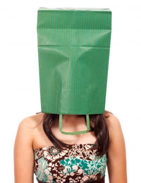 bag on woman's head
